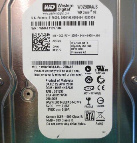 WD2500AAJS-75B4A0 250gb Sata Desktop Drive