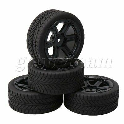 4xRC 1:10 On Road Car Black Plastic 7 Spoke Wheel Rim+Flower Pattern Rubber Tyre