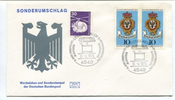 1975 Sonderumschlag Wertzeichen Deutschen Bundespost Lengerich Westf Bundespost