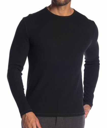 NEW John Varvatos Star USA Long Sleeve Crew Neck Waffle Knit Tee Shirt Black M