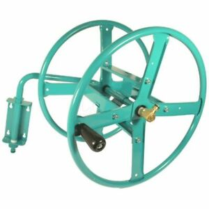 """Wall Mounted Steel Hose Reel Kit Stores 75m of 1/2"""" Garden Hose"""