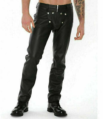 Mens Real Leather Bondage Pant Heavy Duty Bikers Pant Removable Crotch also use as Chaps