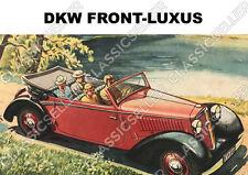 DKW Front-Luxus Frontwagen F2 F4 F5 F7 F8 Cabriolet Poster Plakat Bild Reklame