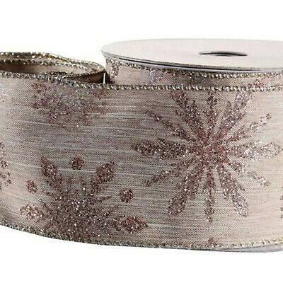 Christmas ribbon rose gold glitter snowflake detail10yd 9.1m 63mm Festive wired
