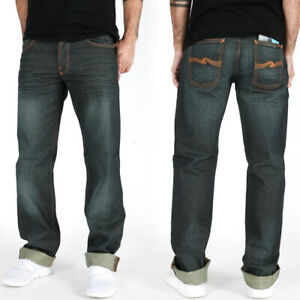 new-Nudie-Mens-Regular-Fit-Jeans-Straight-Sven-Coated-Denim