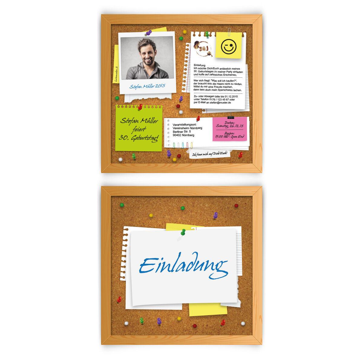 Einladungen zum Geburtstag als Pinnwand mit Foto Kork Notiz Einladungskarten