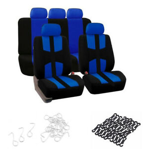 Universal-Car-Auto-5-Sit-Seat-Cover-Set-Breathable-Durable-Polyester-Black-Blue