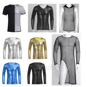 Cool-Men-Wetlook-Leather-T-shirt-Crop-Tops-Long-Sleeve-Shirt-Tee-Blouse-Clubwear
