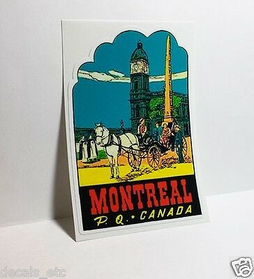 Montreal Quebec Canada Vintage Style Travel Decal, Vinyl Sticker, luggage label