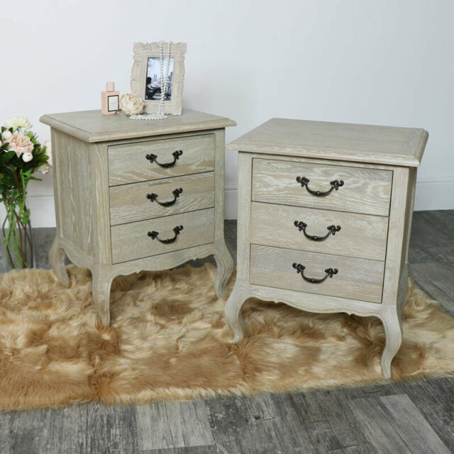 Pair of French style bedside tables vintage shabby chic wooden bedroom  furniture