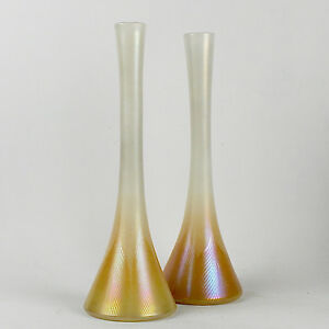 Near Pair of Large LCT Tiffany Favrile Pulled Feather Art Gl ... Gl Vases With Metal on pottery with metal, fused glass with metal, glass lamp shade with metal, box with metal, bookcase with metal,
