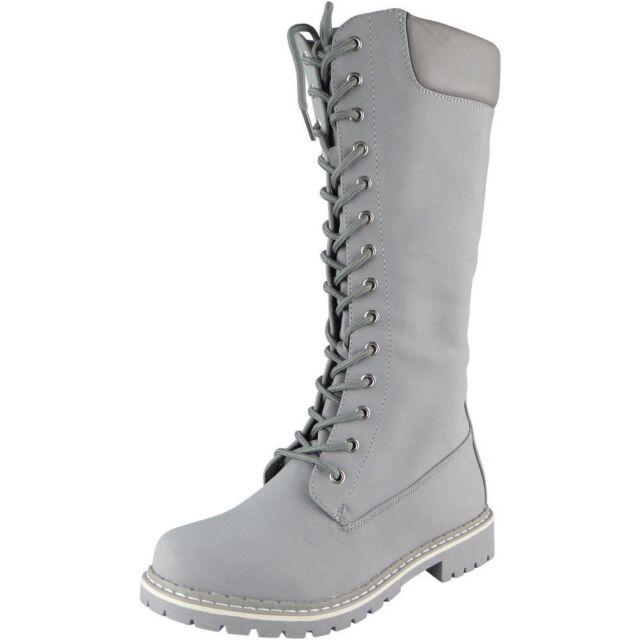 f6fc636c233 Womens Mid Calf BOOTS Ladies Lace up Low Heel Combat Winter Flat Shoes Size  UK 4 / EU 37 / US 6 Grey