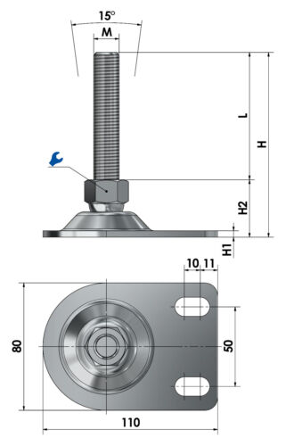 Stützfüße Stellfüße Maschinenfüße Gelenkfüße Ø 80mm Stahl Gewinde M8-M30 4er-Set