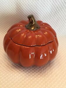 New-J-C-Penny-Home-Collection-PUMPKIN-soup-bowls-dish-w-lid-5-1-2-034-RARE-HTF