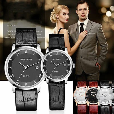 New Faux Leather Band Dial Ultra-thin Men's Women's Analog Quartz Wrist Watch