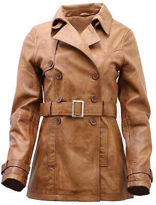 Women/'s 3//4 Green Ladies Lamb Nappa Leather Trench Coat