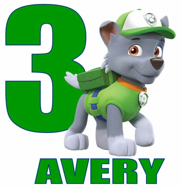 """Skye Paw Patrol Name Age Personalized Iron On Transfer 5x5/"""" LIGHT Colored Fabric"""