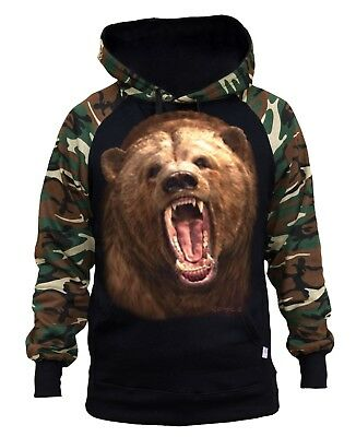 New Men/'s Biting Bear Raglan Hoodie Sweater Vicious Cali Grizzly Beast Wild
