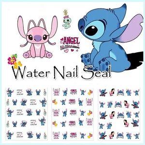 3D-Lilo-amp-Stitch-Disney-Nail-Art-Wraps-Water-Transfers-Decals-Salon-Quality