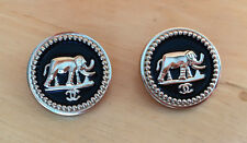 Chanel Buttons Set of 2 Black Enamel and Gold Color