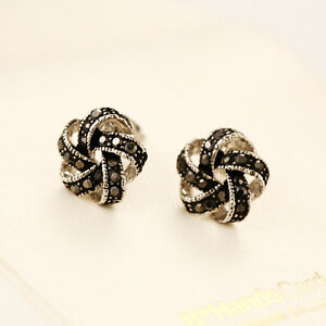 925-Sterling-Silver-Lady-039-s-11mm-Knot-Crystal-Stud-Earrings-Antique-Style-Gift
