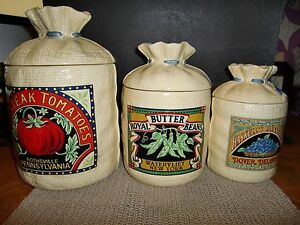 Vtg hearth home design h hd 1988 set of 3 burlap sack for Hearth and home designs canister set