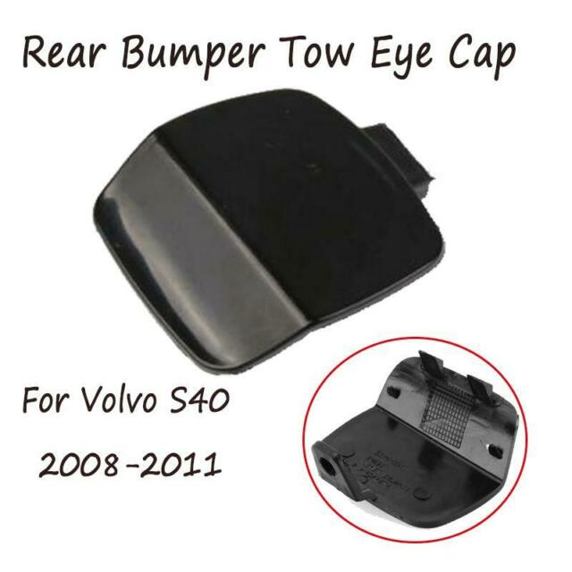 Black Rear Bumper Tow Hook Eye Cover Cap ABS For Volvo S40