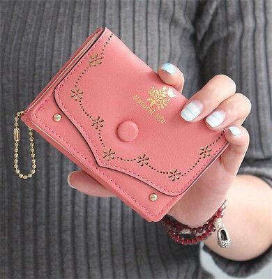Cute Women's Trifold Leather Button Wallet Lady Short Handbag Clutch Purse AU