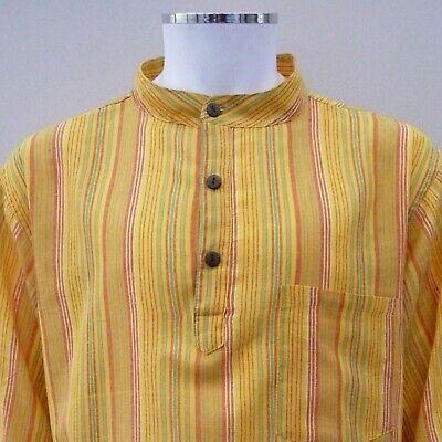 Hippy Casual Unisex GRANDAD SHIRT in CREAM Cotton Stripe Fair Trade UK seller