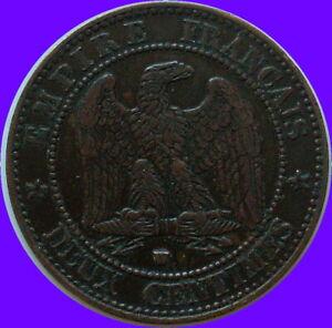 XIXeme-Siecle-Napoleon-monnaie-de-2-CENTIMES-1857-W-LILLE-patine-origine