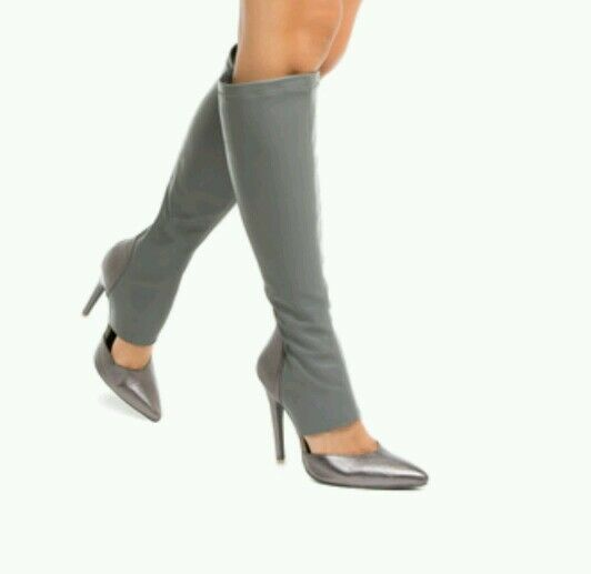 LIGHT GREY SPANDEX BOOTS 5  INCH WITH OPENING, POINTED CLOSED TOE NOW