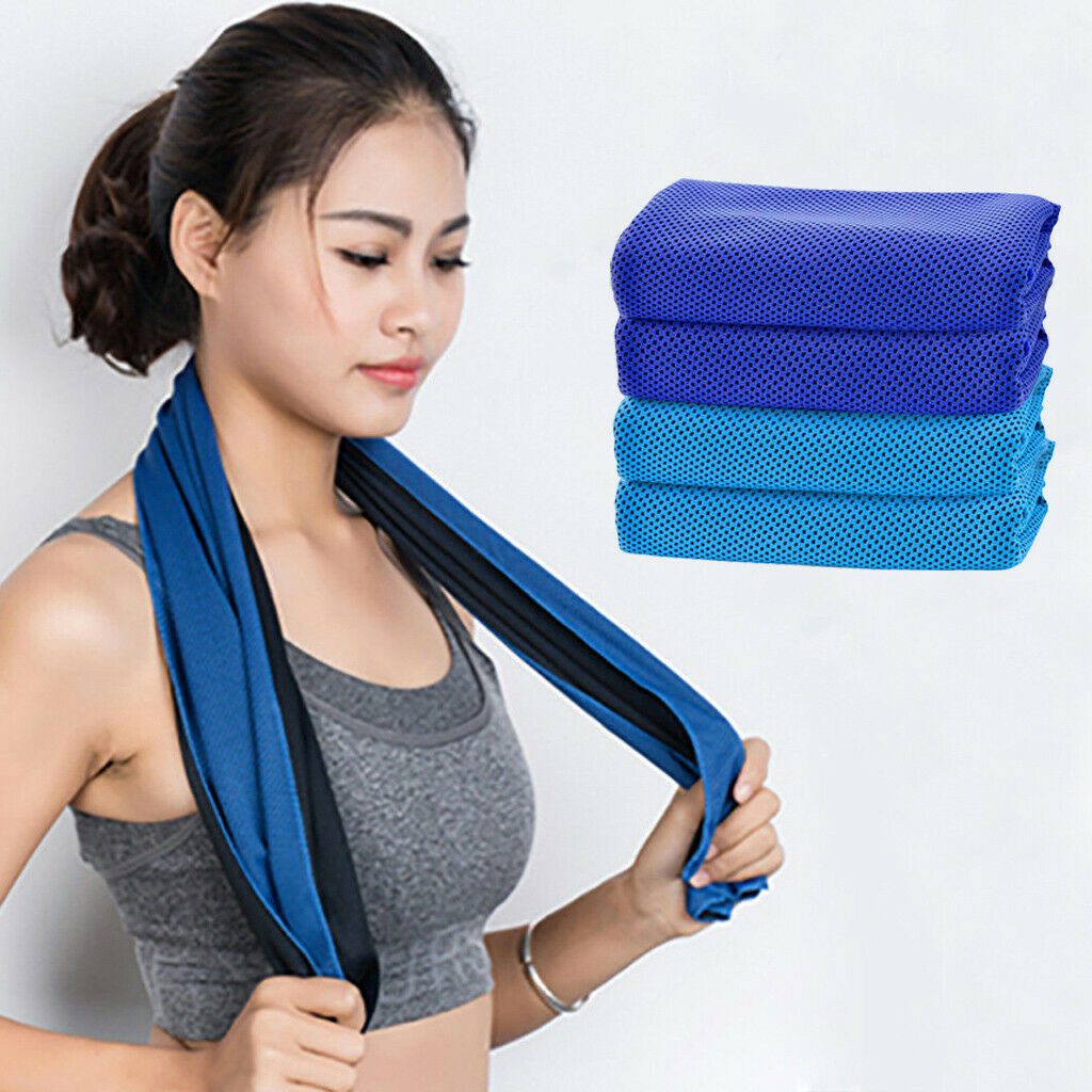 4 Pcs Microfiber Cooling Towel Soft Breathable Chilly Ice Towel For Sport Gym US