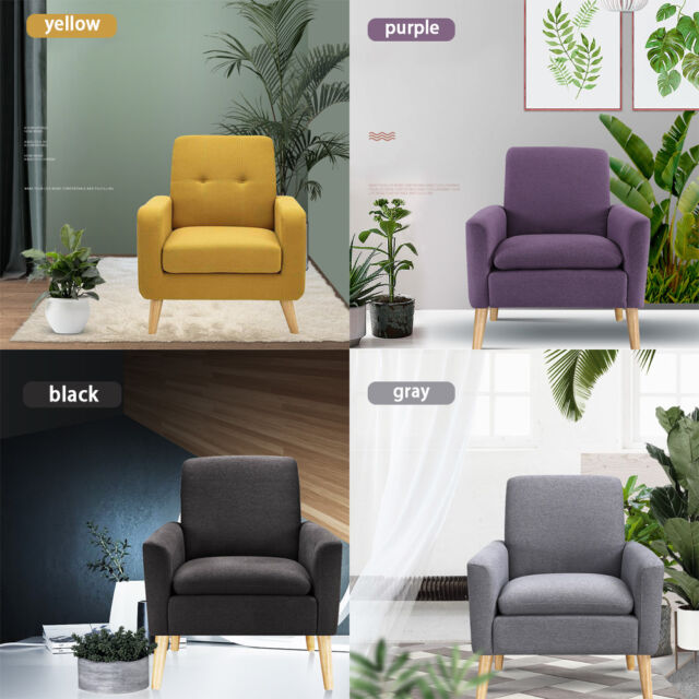Pleasing Modern Tufted Accent Arm Chair Single Sofa Linen Fabric Upholstered Living Room Ibusinesslaw Wood Chair Design Ideas Ibusinesslaworg