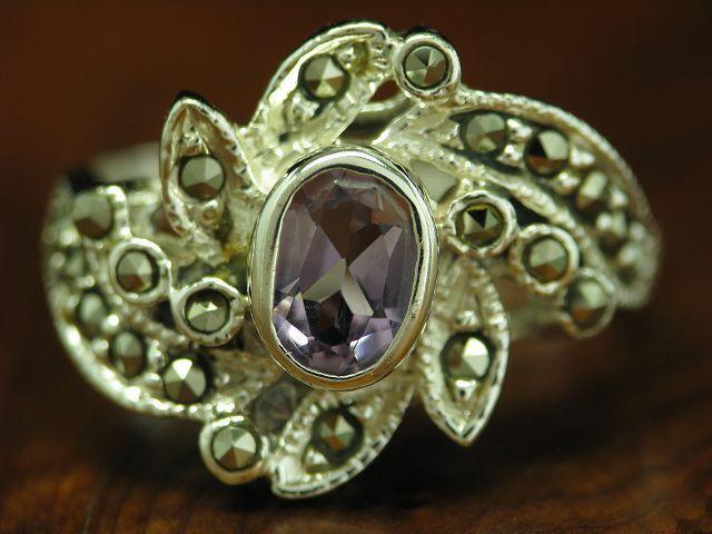 925 STERLING silver RING MARKASIT & AMETHYST BESATZ   ECHTsilver   4,2g   RG 54