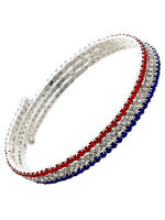 Red White Blue Rhinestone Wire Wrap Bracelet American Patriotic Fashion Jewelry
