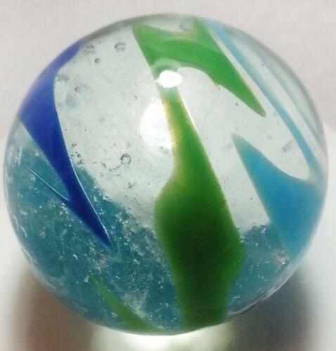 """HANDMADE GLASS MARBLE /""""DIZZY/"""" BLUE /& GREEN 1/"""" SHOOTER"""