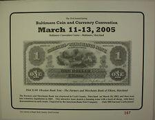 2005 March 33rd Spring Washington Baltimore Coin & Currency Show Souvenir Card