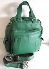 3 in1 Damen luxus Leder Handtasche XL Rucksack Shopper Voll Rindsleder dark grün