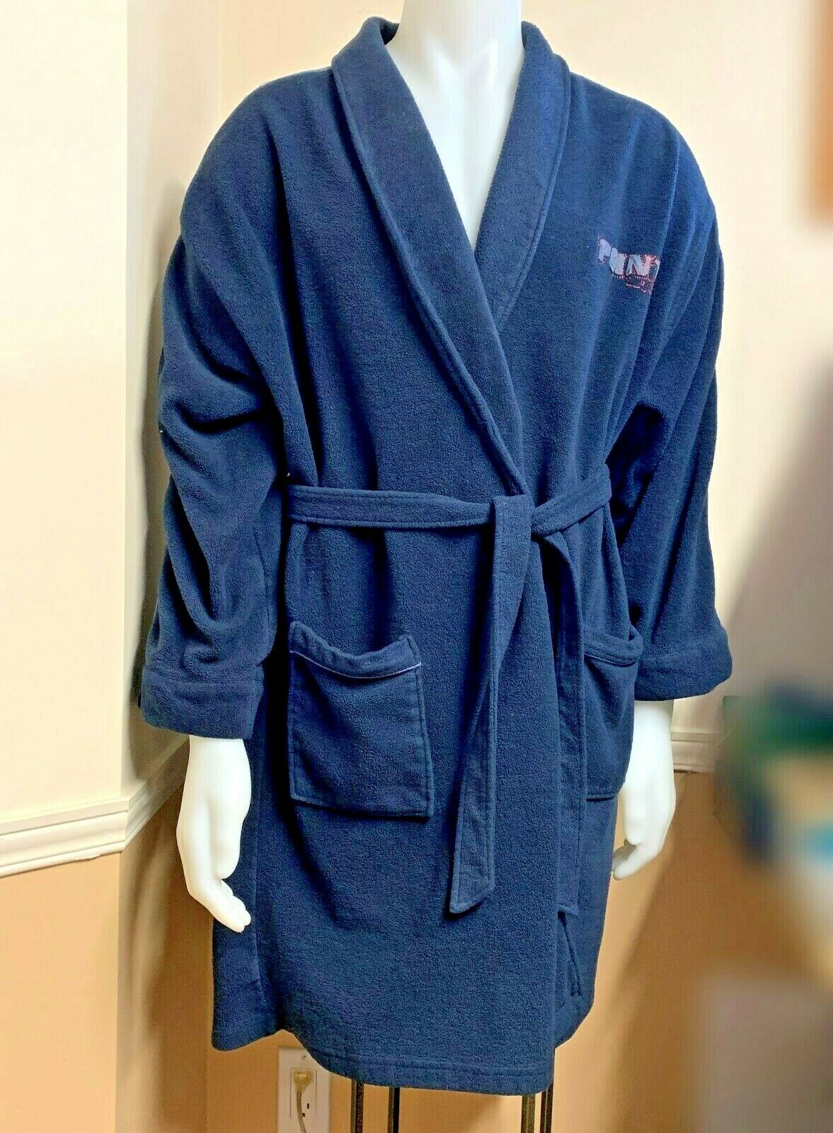 POINT ZERO Mens Solid bluee Bathrobe Spa SZ Large Soft polyester fabric