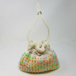 Vintage-Beaded-Drawstring-Tote-Purse-Handbag-Bright-Mid-Century-Colorful-50s-60s