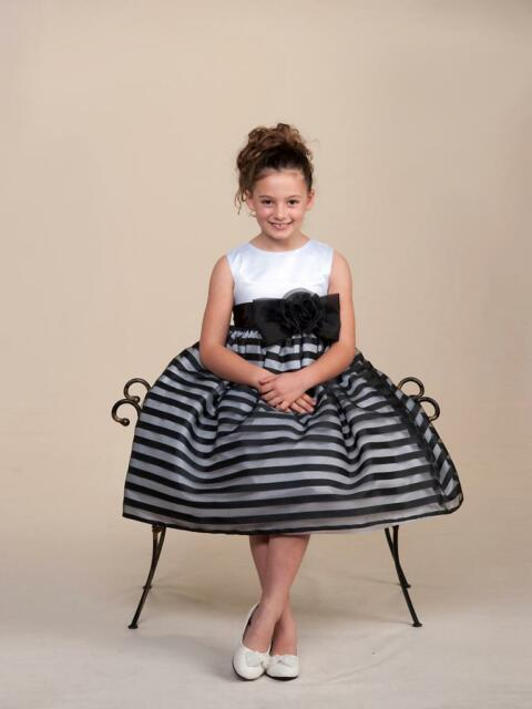 Stunning Black Striped White Top Flower Girl Party Pageant Dress