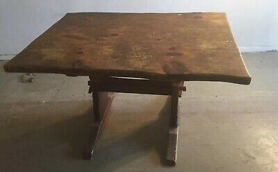 Antique Vintage Hunt Country Furniture NY Wood Dining Kitchen Trestle Table  1960 | EBay