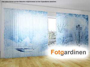 fotogardinen winter vorhang mit motiv 3d fotodruck fotovorhang auf ma ebay. Black Bedroom Furniture Sets. Home Design Ideas