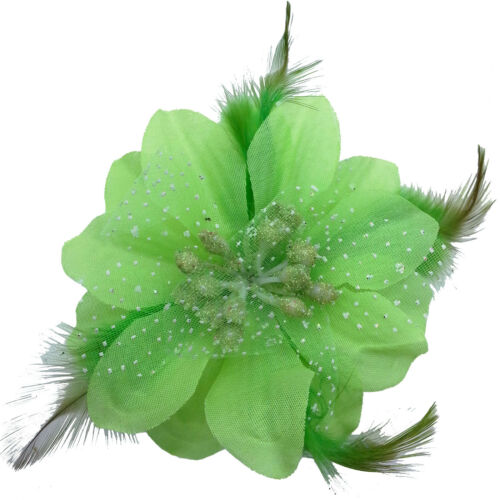Grand Pailleté Plumes Fleur Clips Cheveux Mariage Mariée Demoiselle d/'honneur Troupe de Danse