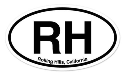 "RH Rolling Hills California Oval car window bumper sticker decal 5/"" x 3/"""