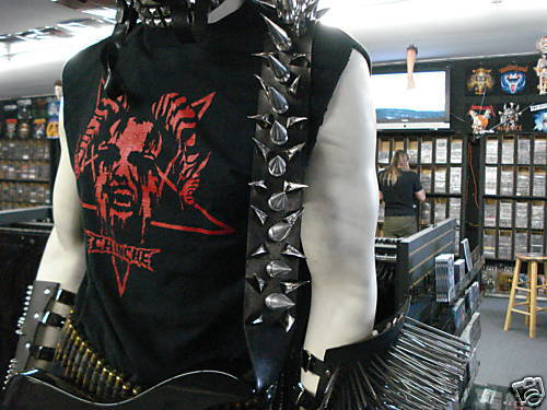 Hebilla Hebilla Hebilla Correa De Cuero Guitarra GIANT con picos de metal.. (MDLS 0055 DEATH)... carnívoro 9e7f03