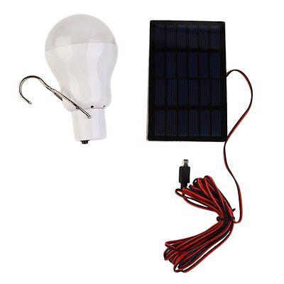 NEW Portable Solar Power LED Bulb Lamp Outdoor Lighting Camp Fishing Light UL