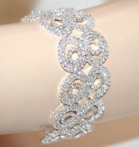 6fced5582f3558 Caricamento dell'immagine in corso BRACCIALE-ARGENTO-donna-strass-cristalli -brillanti-sposa-elegante-