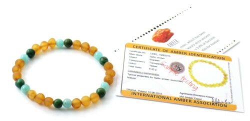 Jewelry Women Raw Baltic Amber Stretch Bracelet with Amazonite and African Jade