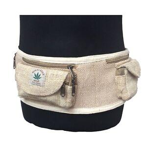 Nouveau chanvre ARGENT ceinture * Trois poches * réglable Ceinture * hippy boho  </span>